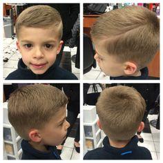 Little boys hard part haircut