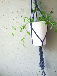 Blue plant hanger made of cotton cord for by laLunaCreazioni, €18.00
