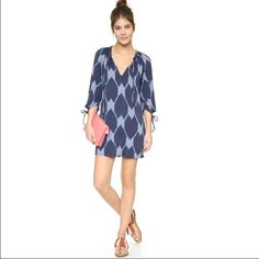 """Beautiful blue geometric pattern dress Beautiful geometric style blue dress. Made out of polyester materials. Knee length and 3/4 sleeves. MEASUREMENTS: SMALL: bust: 35.4"""" sleeve length: 17.7"""" length: 32.4""""MEDIUM: bust: 37"""" sleeve length: 18"""" length: 33"""" LARGE: bust: 38.5"""" sleeve length:18.5"""" length: 33.6"""" Dresses Midi"""
