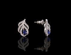 Feather's Touch Elegant Sapphire Earrings - $35 http://www.muwae.com/shop/feathers-touch-elegant-sapphire-earrings