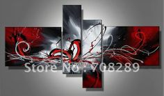 oil paintings on canvas red black white home decoration Modern abstract Oil Painting wall art  B226 on AliExpress.com. 15% off $47.60