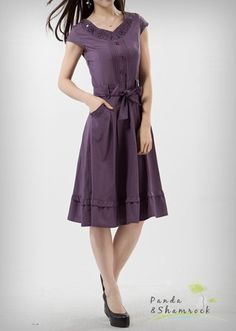 Lovely U Neck Slim A-Line Lace Knee-Length Women Dress With Zipper Back