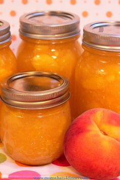 Jars of peach freezer jam