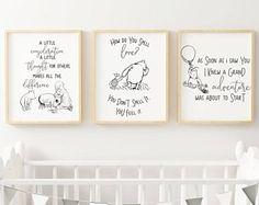 Classic Winnie The Pooh Quote Nursery Prints | Classic Winnie the Pooh Printable Quote Piglet| Classic Children, Kids, Baby Nursery Prints