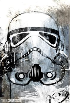 STORMTROOPER Pop Art science fiction Star Wars geekery artist signed fine art print in blue grey and black 18x24. $100.00, via Etsy.