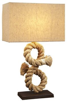 149.00-Nautical Rope Table Lamp - beach-style - Table Lamps - Natural design house 16W X 8D X 28H