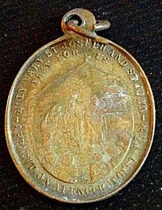 Vintage Catholic Our lady of Knock St. Joseph John Brass Medal (Image1)