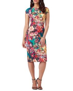 Floral-Print+Scuba+Midi+Dress,+Green/Teal+by+Label+by+5twelve+at+Neiman+Marcus+Last+Call.