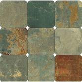 "4"" x 4"" Tumbled Slate Tile in California Gold"