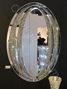 Diamond Crush Sparkle Oval Wall Mirror item in stock stunning silver Diamond rush sparkle oval wall Wall Mirrors Entryway, White Wall Mirrors, Lighted Wall Mirror, Rustic Wall Mirrors, Round Wall Mirror, Diy Mirror, Mirror Art, Beveled Mirror, Wall Mirror Ideas