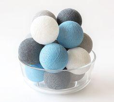 20 Cotton Ball Lights, Wedding, Patio Party, Fairy, Bedroom, Outdoor, Decor - Grey Blue Beach Cottage