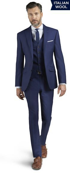 Kensington Blue Italian Wool 3 Piece Slim Fit Suit