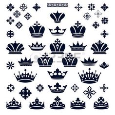 principessa vintage: set di corone ed elementi decorativi illustrazione…