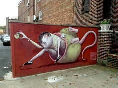 Marco Burres aka is Italian street artist known for his murals of egg headed humans and curious critters that have decked walls from Amsterdam to New York. Street Wall Art, Street Mural, Installation Street Art, Art Installations, New York Street Art, Create An Animal, Graffiti, Italian Street, Italian Artist