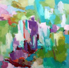 Abstract original large square painting vibrant colours green violet pink blue red by originalhorseart on Etsy