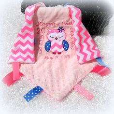 Personalized baby fox security blanket monogrammed minky lovey personalized with your babys birth announcement owl lovey tag along security blanket birth info girl keep sake gift pink chevron lovie negle Gallery