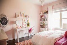 Tween Girl Pink + Coral Bedroom - Darling Darleen | A Lifestyle Design Blog Pink Bedroom Design, Coral Bedroom, Girls Room Design, Bedroom Paint Colors, Big Girl Bedrooms, Pink Bedrooms, Kids Bedroom, Pink Bedroom For Girls, Little Girl Rooms