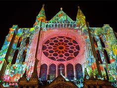 "Chartres Cathedral, France The light show on the facade at night is fun! My memories of this place will always include Claire and the phrase ""Gare Au Revoir"" Romanesque Architecture, Crayon Box, Architectural Features, Place Of Worship, Gothic Art, World Of Color, Light Art, Beautiful World, Beautiful Places"