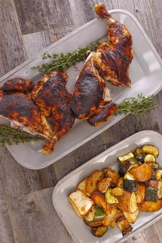 This cinnamon and honey buttered spatchcock chicken is a scrumptious way to enjoy a chicken dinner. Serve with a side of lemon potatoes and zucchini to complete the dish.