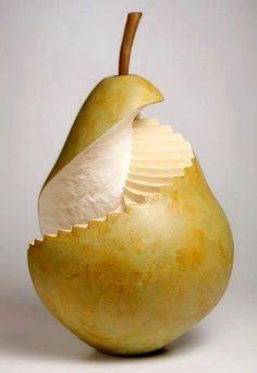 Spiral Pearcase, a ceramic sculpture by Susan Clusener. Coil-built earthenware, glazed