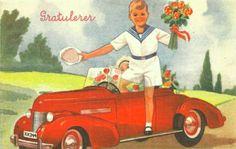 Gratulasjonskort Erling Nielsen brukt 1940-tallet Norsk arbeide