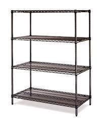 """Olympic 18"""" Deep 4 Shelf Starter Units - Black - 18"""" x 48"""" x 74"""" by Olympic. $202.46. Olympic wire shelving made of carbon-steel will exceed all your storage needs. Open construction allows use of maximum storage space of cube. Each unit includes 4 posts, 4 shelves and split-sleeves to attach shelves to posts. Black finishes are perfect for retail applications. Product Features: Open wire design that minimizes dust accumulation and allows a free circulation of ai..."""