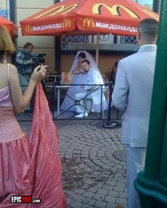 In the power vested in me, I now pronounce you...(you gonna eat those fries?)