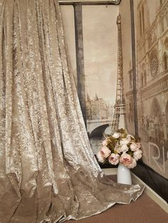 Stunning Heavy Champagne Crushed Velvet 114 D102 W Blackout Lined Bay Curtains