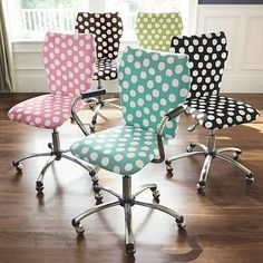 Recover a standard office chair. These polka-dot chairs are too cute!!