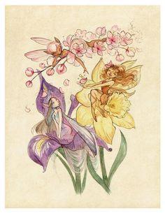 Midsummer Fairies - Cherry Blossom, Daffodil, and Iris: Art Print Fairy Sketch, Fairy Oak, Fairy Drawings, Daffodils, Drawing Sketches, Cherry Blossom, Watercolor Paintings, Watercolors, Character Art