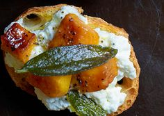 Butternut Squash, Ricotta, and Sage Crostini #thanksgiving #thanks #givingthanks #recipes #holiday #holidayrecipes #thanksgivingdinner #diy #crafting #holidaycrafts #holidaydiy #fall #harvest #meals #family #give #thanks #happy #healthy #delicious www.gmichaelsalon.com