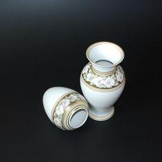 2 Tischvasen-AK-Kaiser Porzellan-Bouquet-Vasen-Goldrand