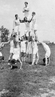 Members of the Visa Athletic Club forming pyramid, Windsor, Ontario, 1927.
