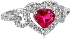 Sterling Silver Created Ruby Round Created White Sapphire Heart Ring, Size 8 ** Details can be found by clicking on the image. (This is an Amazon Affiliate link and I receive a commission for the sales)