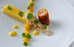 Sweetcorn panna cotta with crab cannelloni from greatbritishchefs.com