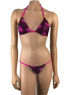 b1206a88715d4 Exotic Dancewear G Brazilian Bikini mini Thong Set Triangle Top Swimwear  Pole Wear Rave outfits Swimsuit Beachwear String Thong Tie Side