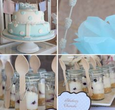 BABY BLUE - can't go wrong w/ all baby blue for new baby boy-to-be! Christening Dessert Table, Christening Favors, Christening Invitations, Baptism Favors, Baptism Party, Baby Party, Baptism Ideas, Dessert Buffet Table, Dessert In A Jar