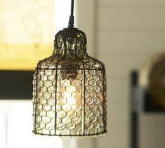 chicken wire pendant lights kitchen | Harlowe Wire & Glass Pendant