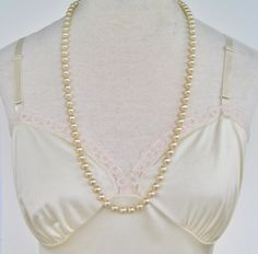 Vintage 60s Traditional Preppy Faux Glass Pearl Ivory Off White Hand Knotted Opera Length Necklace by ThePaisleyUnicorn, $8.00