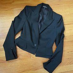 "Black Cropped Express Blazer About 17"" shoulder to hem. Has shoulder padding. Express Jackets & Coats"