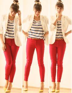 calça vermelha + listras azuis + scarpin amarelo