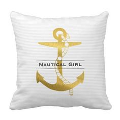 #stripes - #Golden Anchor with Rope   Nautical Girl Throw Pillow