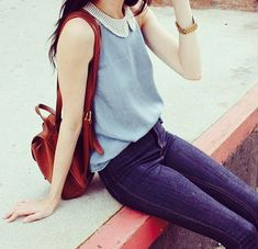 Korean fashion - peter pan tank blouse, jeans and brown leather back pack