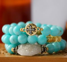 Peruvian Amazonite Stretch Bracelet with Gold by LaliJewelryShop, $60.00