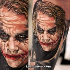 Heath Ledger as the 'Joker' by the always amazing Batman Tattoo, Dc Tattoo, Marvel Tattoos, Joker Tattoos, Cover Up Tattoos, Leg Tattoos, Cool Tattoos, Tatoos, Game Tattoos