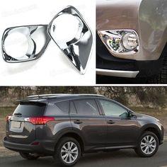 2 X Chrome Front Fog Lamps Light Frame Cover Trim Fit For Toyota Rav4 2013