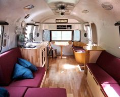 airstream interior - how cool is this??? I love the wood flooring.