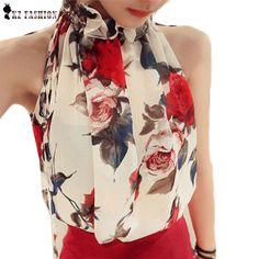 Nuevas Mujeres Sin Mangas de Gasa de la Impresión Floral Blusa de Volantes Cuello Alto Tops Camisa Bluse Blusas Femenino Marca T57334