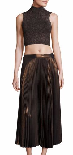A.L.C. Bobby Pleated Metallic Skirt
