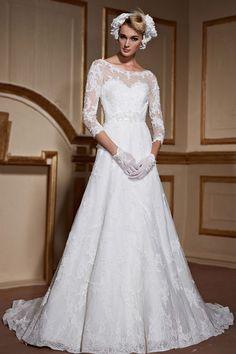 Rétro Robe de mariée avec manches dentelle longueur trois quart